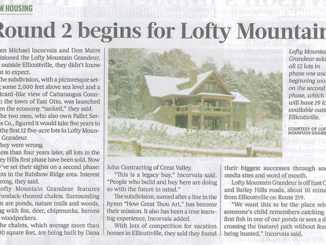 Ellicottville Lofty Phase 2 Starts