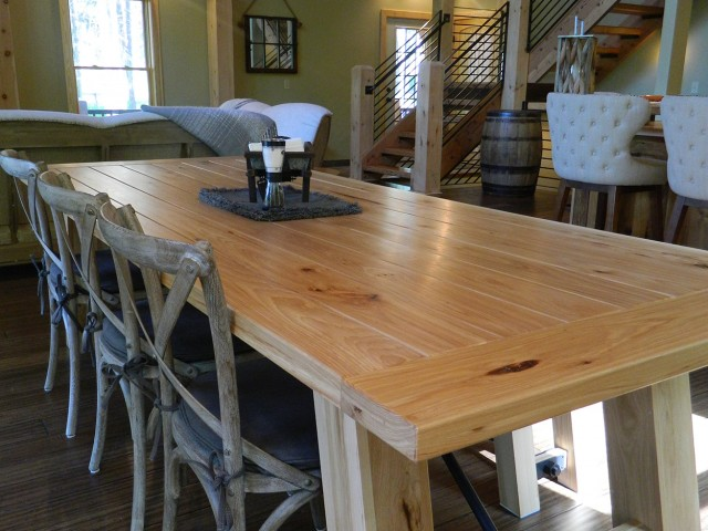 Handmade Table with Hickory Hard Wood